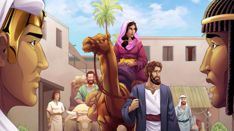 iBIBLE image of two Egyptian men looking at Sarai as her and Abram arrive