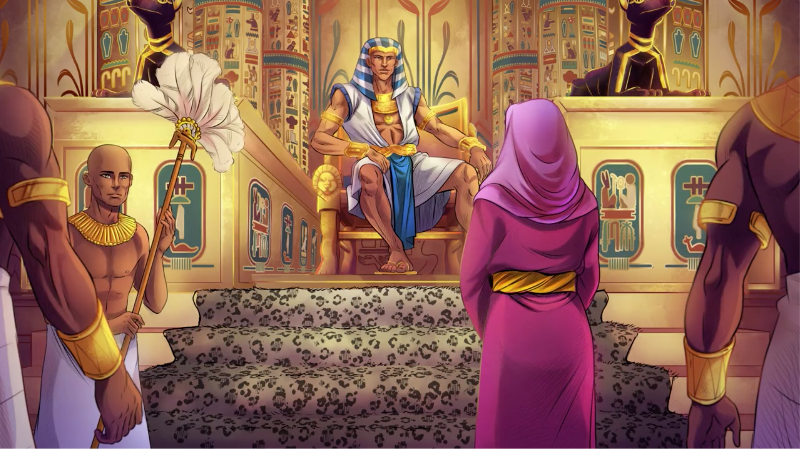 iBIBLE image of Sarai standing in front of Pharaoh