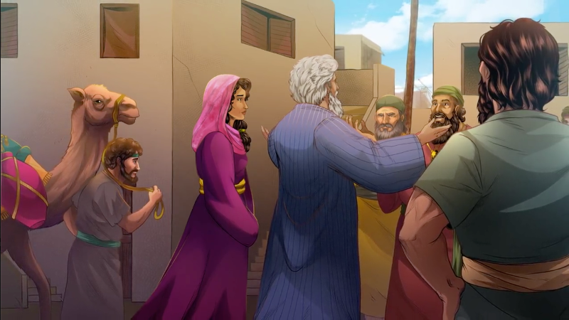 iBIBLE image of Abraham telling the people of Gerrar that Sarah was his sister