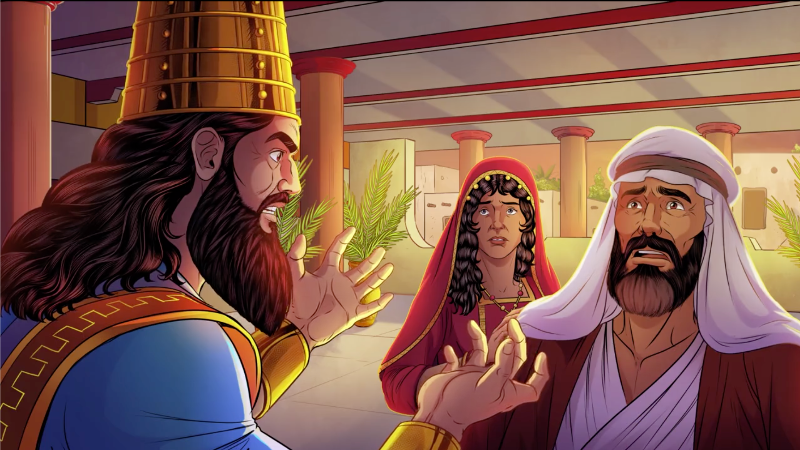 iBIBLE image of a frustrated Abimelech as he rebukes Isaac and Rebekah
