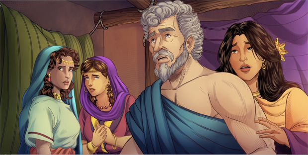 iBIBLE image of Lot, his wife and his daughters looking surprised as they are told to flee Sodom