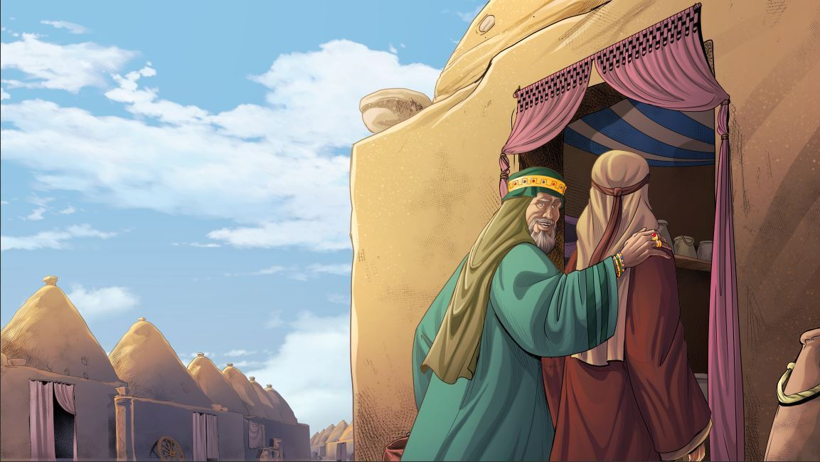 Illustration from iBIBLE chapter 13 showing Laban and Jacob entering a kümbet in Haran