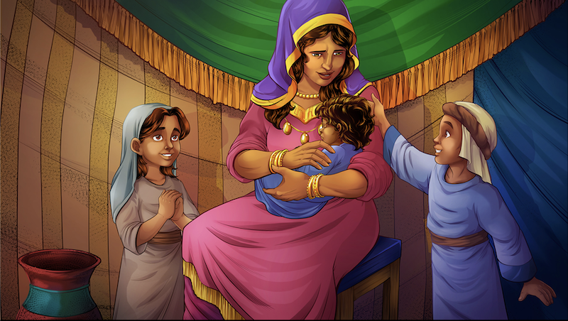 Rachel with Joseph and Bilhah's two sons