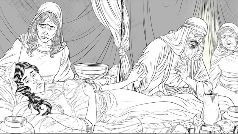 Rachel passed away giving birth to Benjamin (lineart prior to artist coloring)