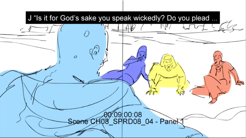 Job scolds his friends (preliminary sketch)