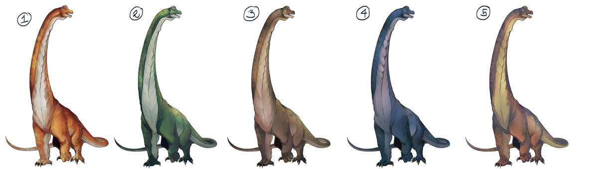 Image of five behemoths and the different color variations-orange, green, brown, blue and orange/tan