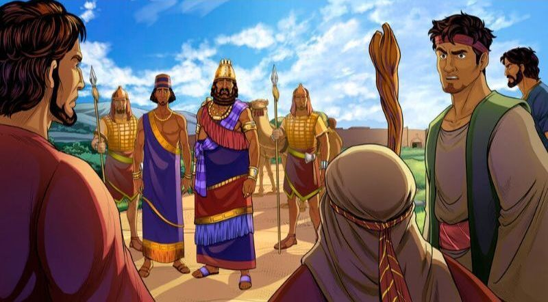 Hamor and Shechem approach Jacob and his sons