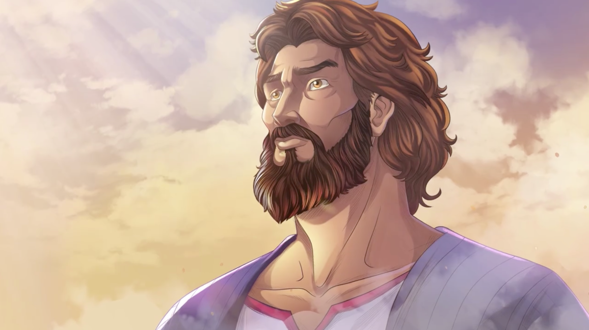 Image of Abraham looking up and listening to God