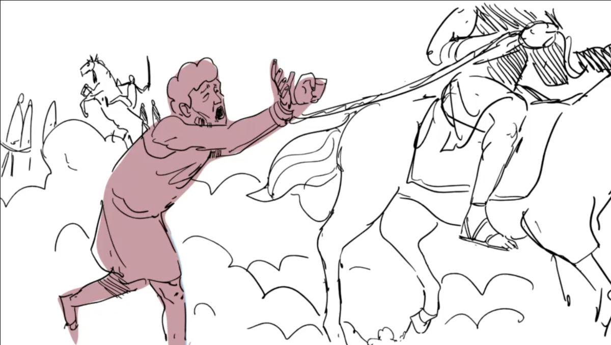 To facilitate recognition, Lot is shown in burgundy in the iBIBLE animatic