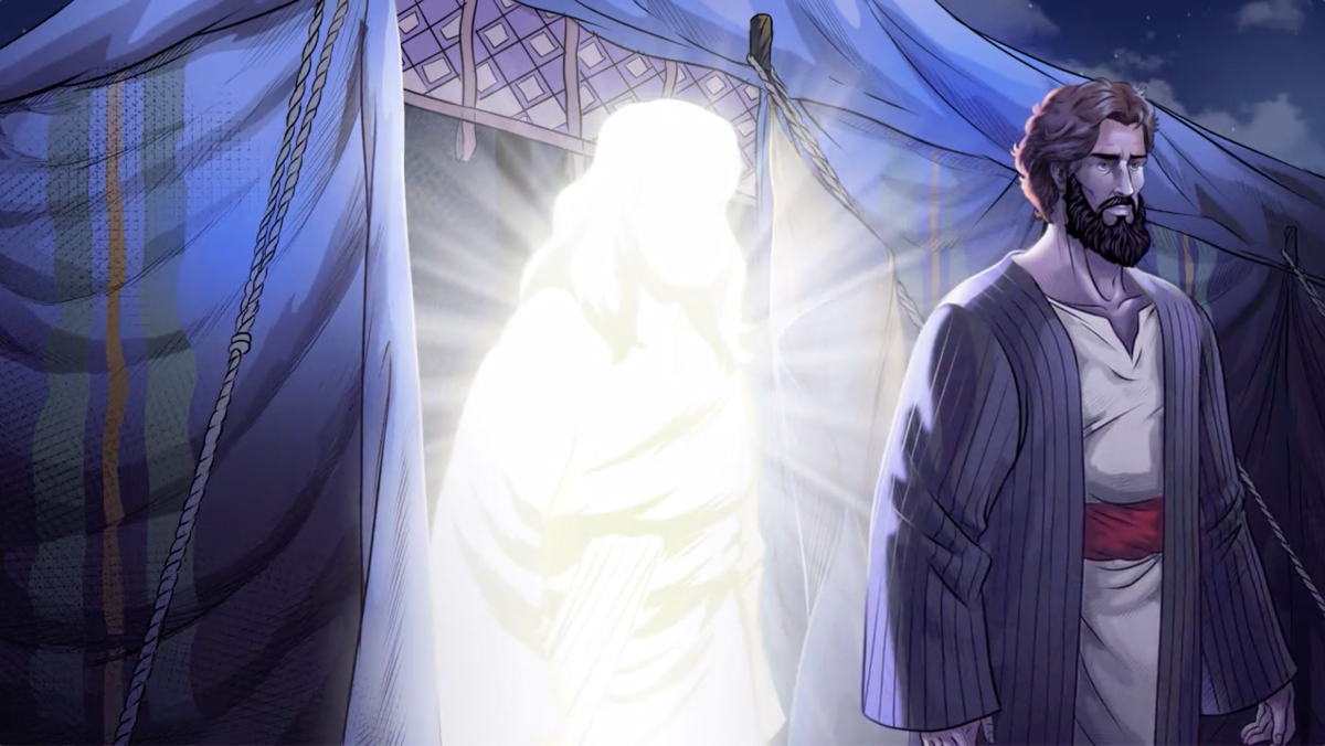 iBIBLE image of God walking out of a tent behind Abram