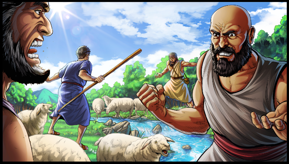 Abrams shepherds fight with Lots