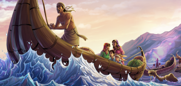 iBIBLE image of Jacob and his family in a boat and his animals swimming across the Euphrates