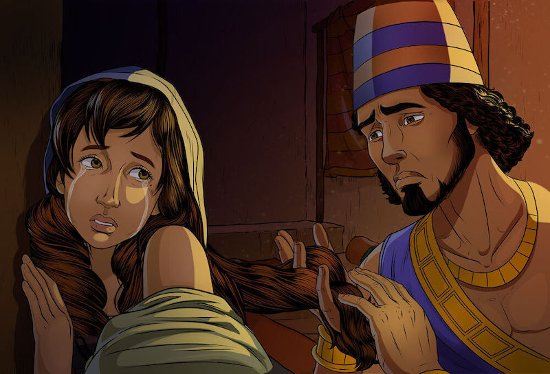 Image iBIBLE Chapter 16. Shechem attempts to comfort Dinah