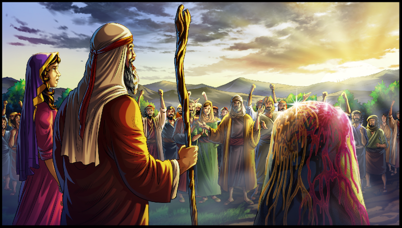 iBIBLE Chapter 17. Jacob's tribe worships at the stone in Bethel.