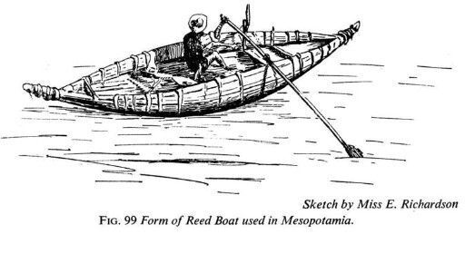 black and white image of a river boat-usually made of bundles of reeds lashed together with rope