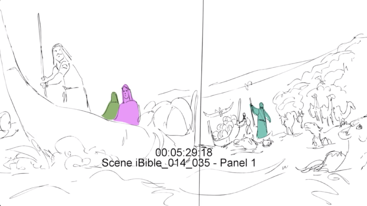 beginning sketch image of Jacob's family and belongings going across by boat and animals swimming