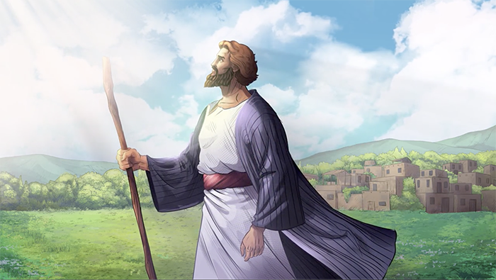iBIBLE image of Abram holding his staff looking up to the sky
