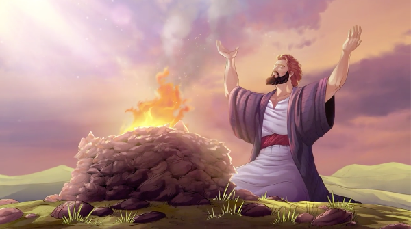 iBIBLE images from chapters 8-11. Illustration showing Abram kneeling with his hands raised