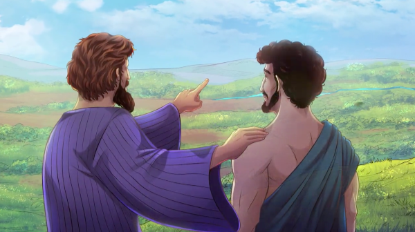 iBIBLE chapters 8-11 image of Abram talking with Lot about the land