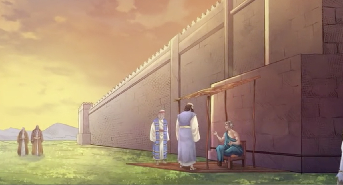 iBIBLE image of Lot sitting at the gate