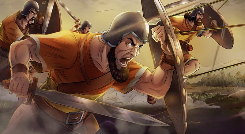 iBIBILE image of warriors fighting in the nine city war