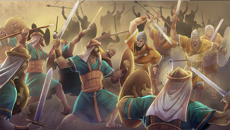 iBIBLE image of warriors battling each other