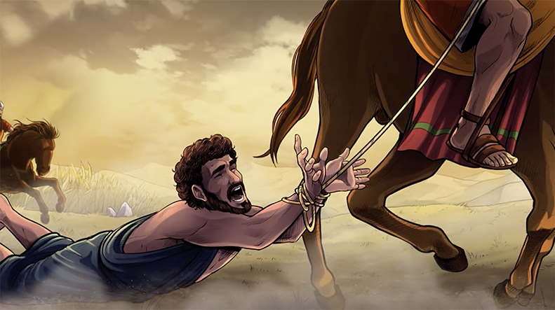 iBIBLE image of Lot being drug behind a horse as he's carried away as a slave after Sodom's defeat