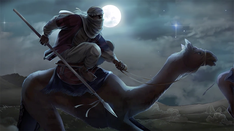 iBIBLE image of Abram riding during the night to go rescue Lot