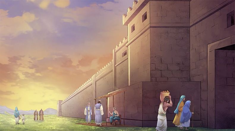 iBIBLE image of Lot sitting at the gate talking to people