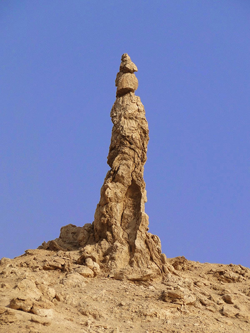 Real life image of a pillar of salt believed to be Lot's wife