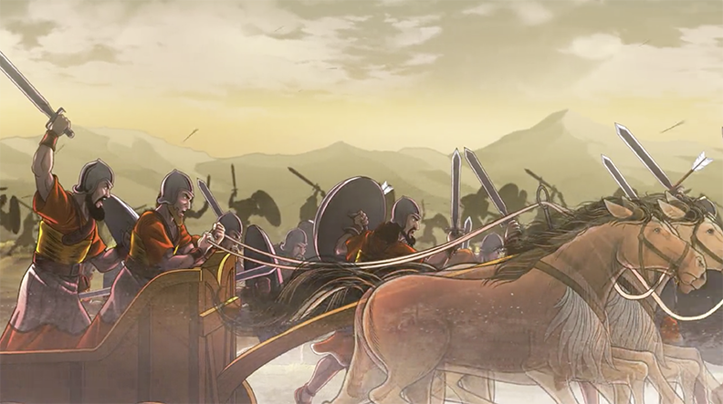 iBIBLE image of Abram's trained men charging forth in battle to rescue Lot