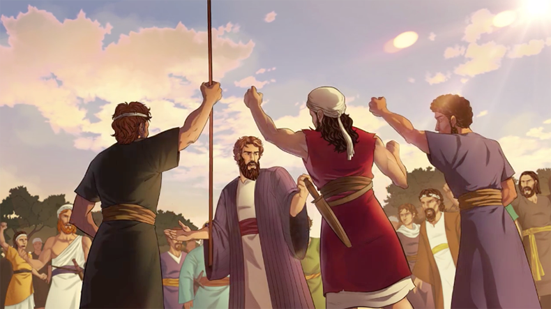 iBIBLE image of Abram rallying his men to go fight and rescue Lot