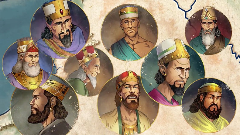 iBIBLE Chapters 8-11 image of Abram and other warrior chieftains wearing golden crowns