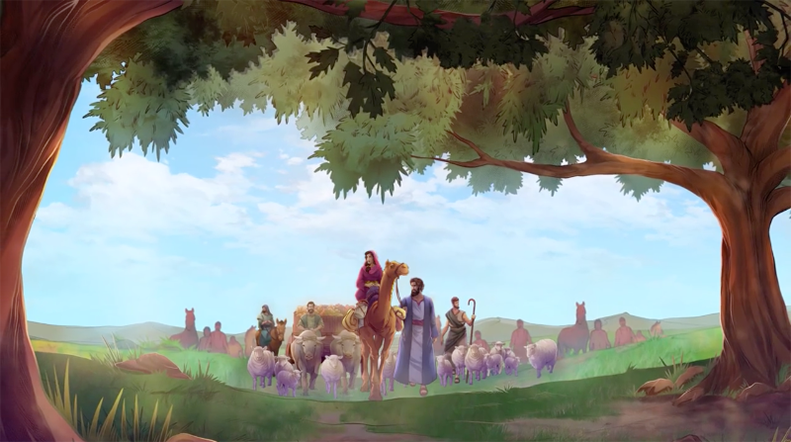 iBIBLE chapters 8-11 image of Abram leading his family, flock and men