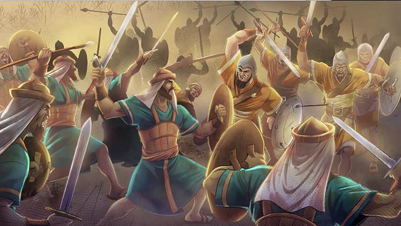 iBIBLE battle scene of warriors fighting in the nine kingdom war