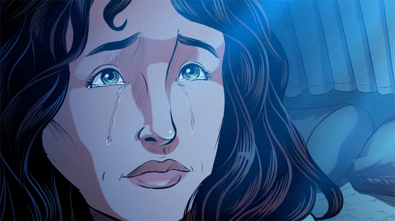 iBIBLE image of Lot's wife crying