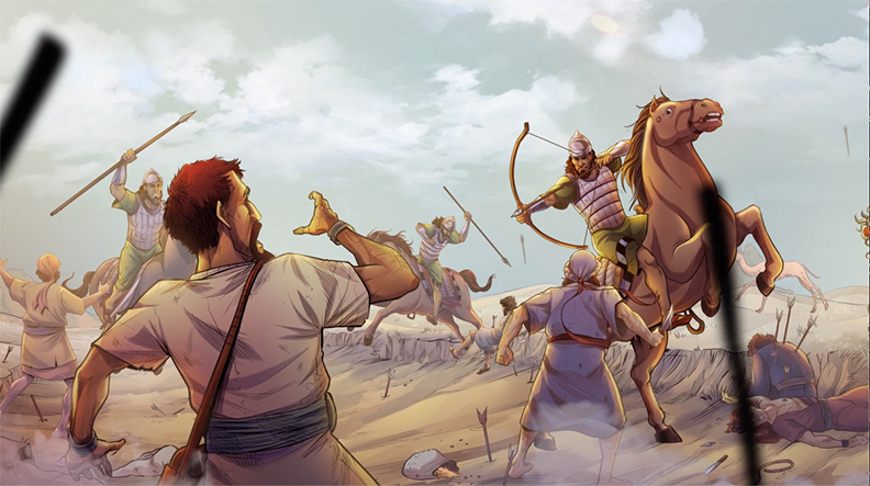 iBIBLE image of Job's servants being attacked and killed