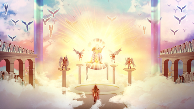 iBIBLE image of God on his throne surrounded by angels with Satan below approaching the throne