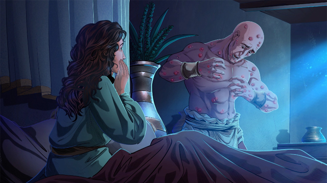 iBIBLE image of Job and his wife looking at his sores