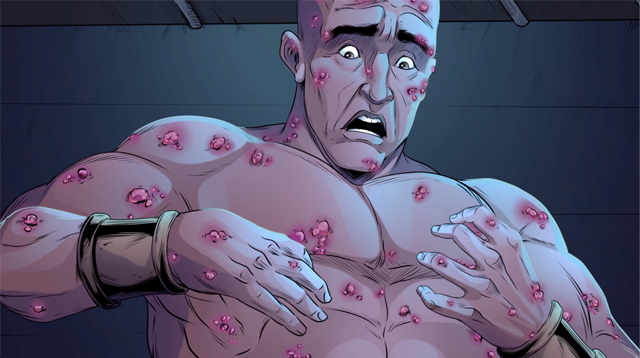 iBIBLE image of Job looking at the sores on his torso