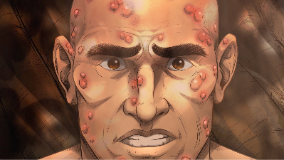 iBIBLE image of Job's face covered in sores