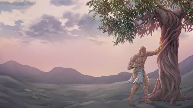 iBIBLE image of Job resting against a tree