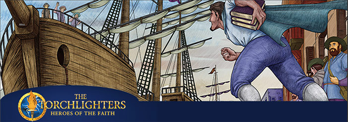 Scene from Torchlighters animated movie with man running to ship